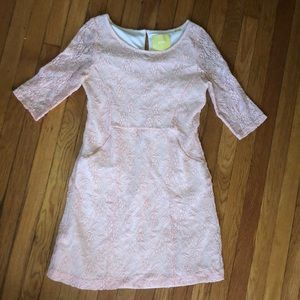 Maeve pink lace lined pocket dress small